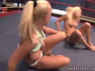 Wild busty blondes fighting