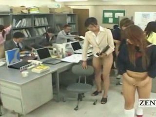 Subtitled ήμισυ γυμνός bottomless ιαπωνικό σχολείο γραφείο