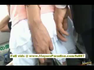 Rio aziatisch tiener babe getting haar harig poesje fondled op de