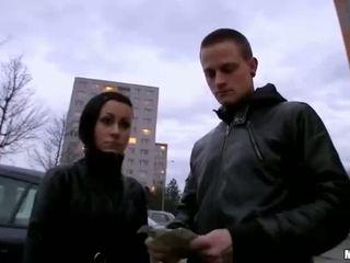 Czech girlfriend Lucie threeway for cash