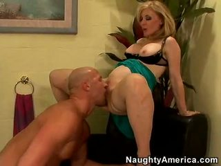 Sexy Momma Nina Hartley Takes Her Lover's Pecker In Her Throat Like A Lollipop