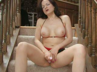 Slut with Juicy Tits Fucks Both Holes with a Dildo: Porn 54