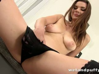 Sexy girl plays with a lovely pussy pump