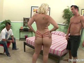 mature, femme, blond