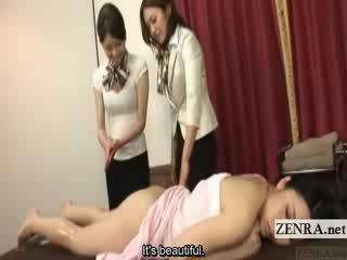 Subtitled japonská lesbička tupo olej masáž výcvik