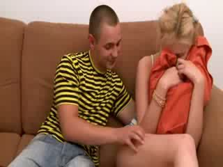 Threesome with two blonde teenies
