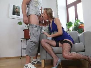 Slender Blonde In Fishnet Stockings Gi...