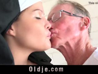 Old man makes young monastery nun forn...