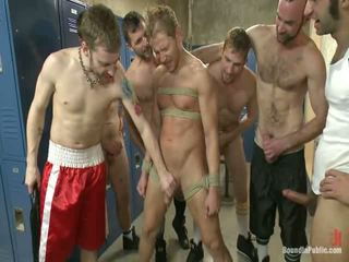 Loudmouth Sports Hall Freak Got Laid And Pissed Onto In Boxing Sports Hall Locker Room