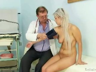 Exclusive Club: Teen girl Sabina visiting her old gyno doctor to have tight pussy examined