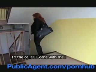 Publicagent gift redhead does anal i den cellar