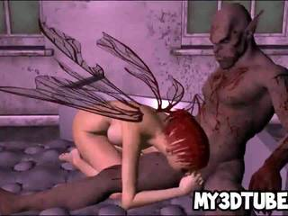 Foxy 3D elf babe getting fucked hard by a zombie