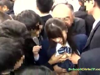 Asian Schoolgirl gets her face gang ba...