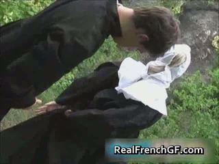 Slutty french biarawati fucked outside porno