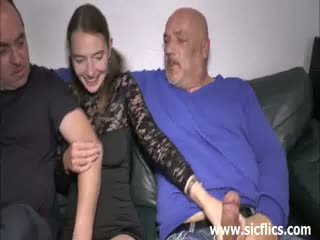 Skinny Teen Double Fisted And Fucked By Two Old Men