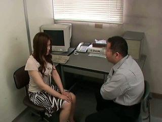 brunette, skinny, office