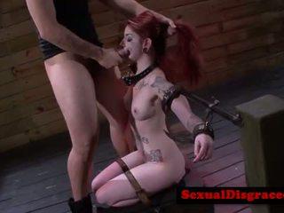 Ginger tattood bdsm sub gagging on cock