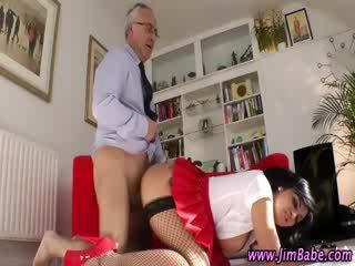 Older guy fucks hot chick stocking prostitute