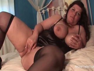 Huge titted mature BBW masturbating her bald fat pussy