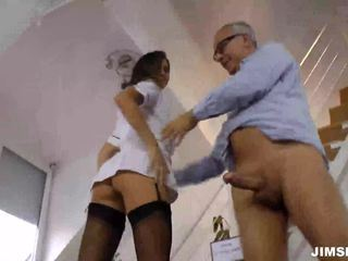 Brunette nurse gets fucked and jizzed