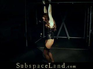 Bondage trapped Juliette has convulsive orgasm in bdsm