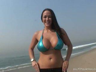 bruneta, veľký péro, veľké prsia