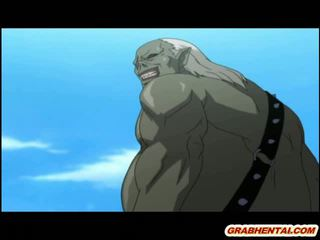 Hentai princese brutally groupfucked līdz getto monsters