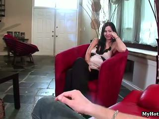 Brunette Krista Kaslo is going to talk with you fo