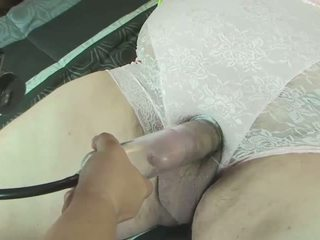 Pantied pumped sounded femdom handjob