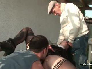 年輕 法國人 尼姑 性交 硬 在 三人行 同 papy 偷窺