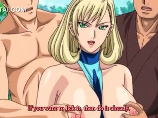 Outdoor 3d anime 3some with sexy blonde in