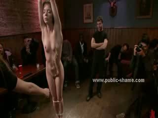 Sexy hot girl with perfect booty in spanking and torturing in public bdsm sex video