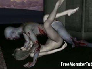 3d tekenfilm zombie babe getting licked en geneukt
