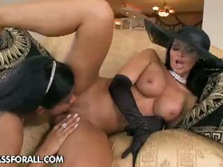 Lezbo Honeys: Kyra Black and Christina Bella have fun with dildos