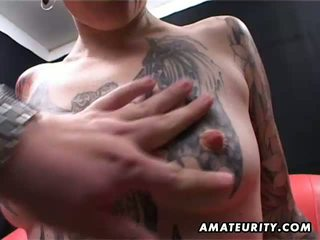 Tattooed amateur Milf home blowjob with cumshot