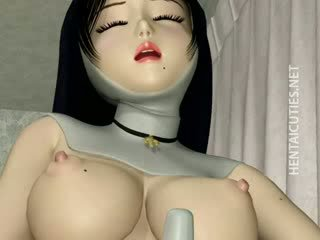 3D manga nun in stockings Dildo twat