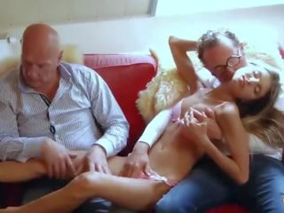 Incredible Small Teen Gangbanged by Horny Grandpas She Swallows Cumshots