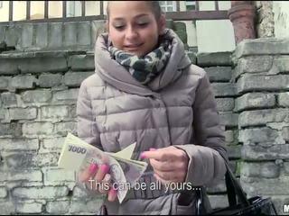 Eurobabe Emily banged in public for cash