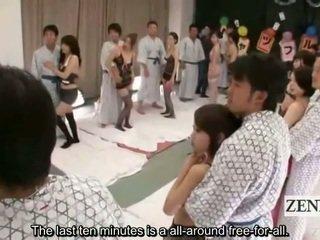 Subtitled lingerie clad japans av sterren shuffle orgie