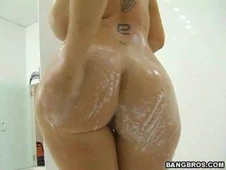 hardcore sex, lielas krūtis, duša
