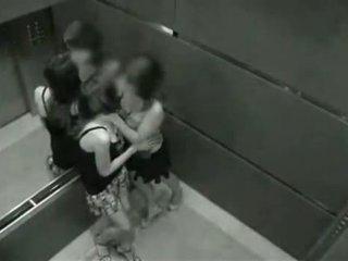 Lesbietes noķerti par kamera uz the elevator