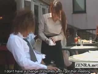 Subtitled японки публичен cafe erection wiping сервитьорка