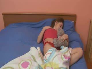 Sleepy chick rubbing her sleepy hole