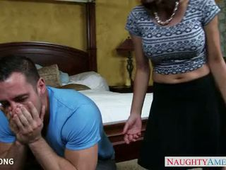 Chesty Eva Long slurps and jumps cock