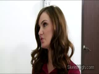 Gorgeous brunette babe babe Lily Carter fucks with her teacher for a better grade