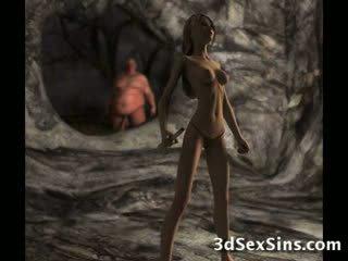 Ogres spunk on 3d babes!