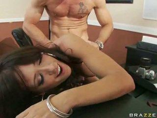 Babe in sexy lingerie having seks bij werk