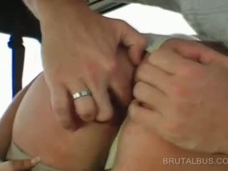 Sexy amateur goes naked and gives BJ in bus
