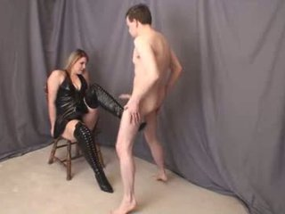 Jenna thigh high boot ballbusting puno
