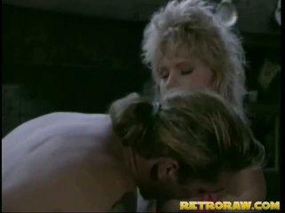 Retro blondynka gets wydymane duży